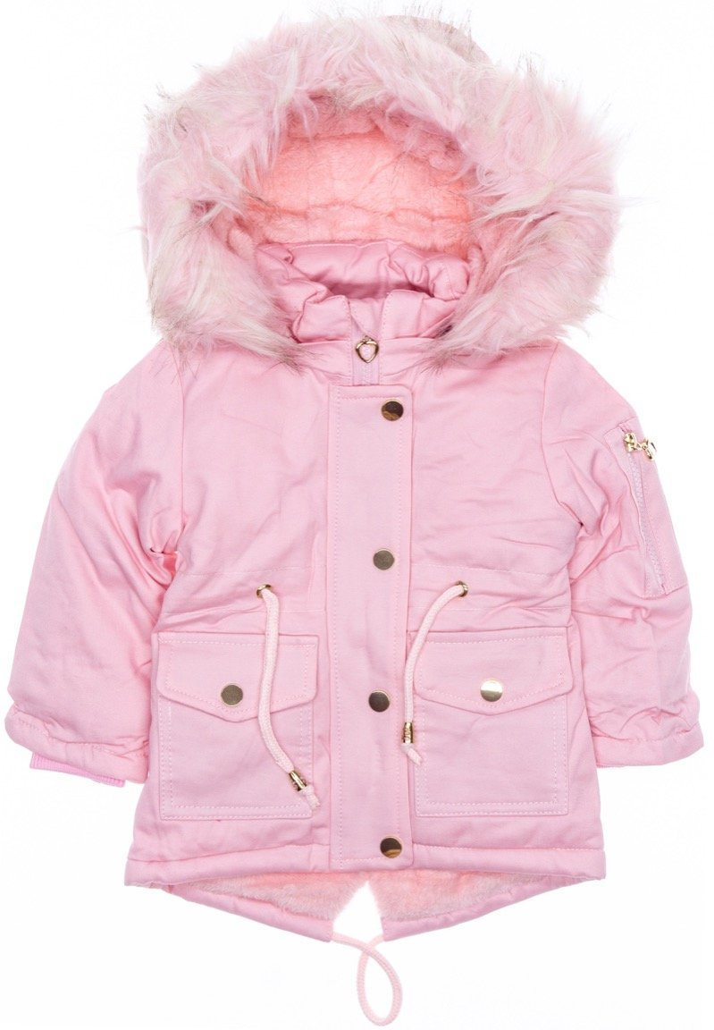 Lady Moda παιδικό μπουφάν παρκά με αποσπώμενη κουκούλα «Pink Missy»