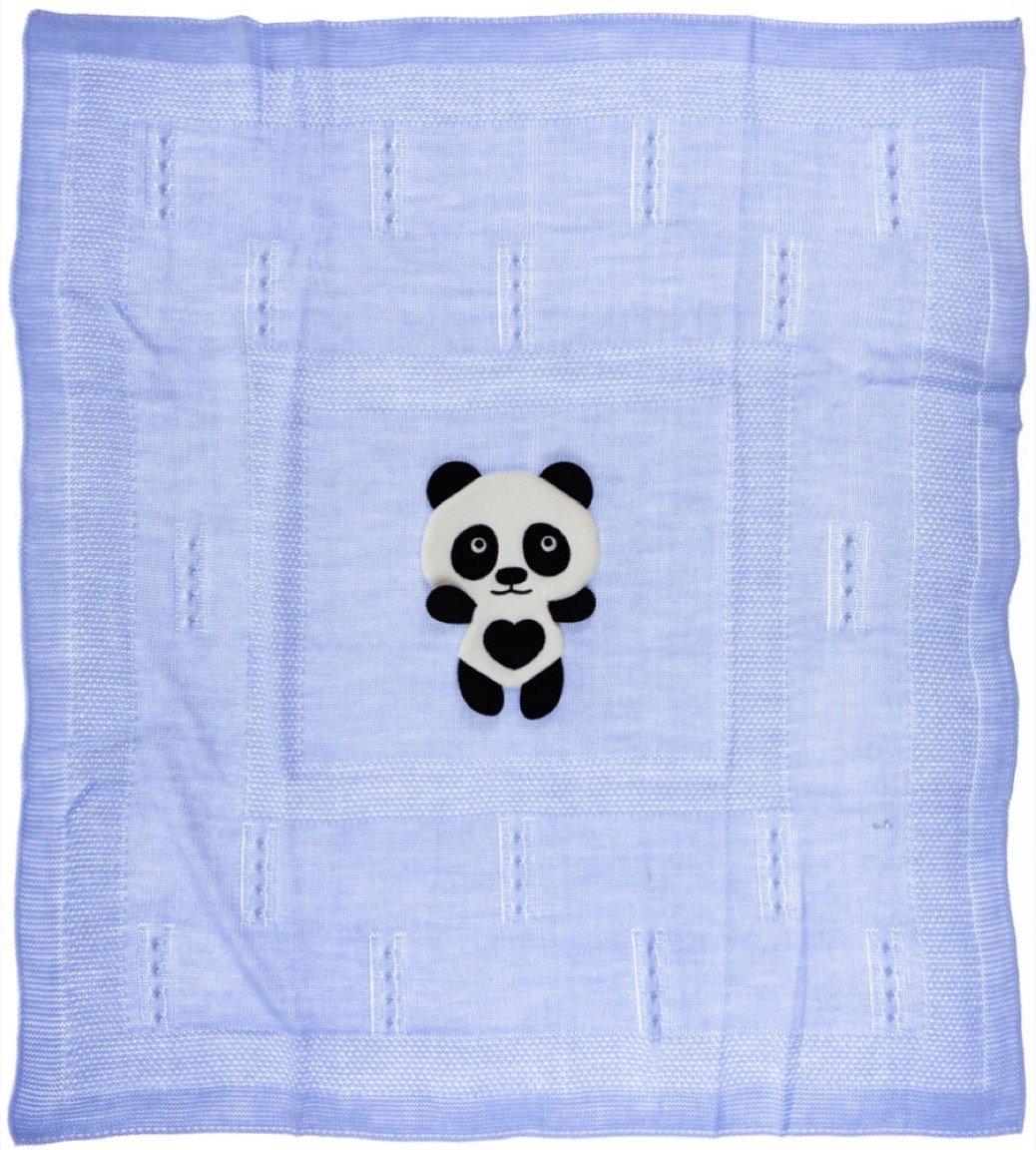 Bebikan πλεκτή κουβέρτα για βρεφικό λίκνο «Blue Panda»