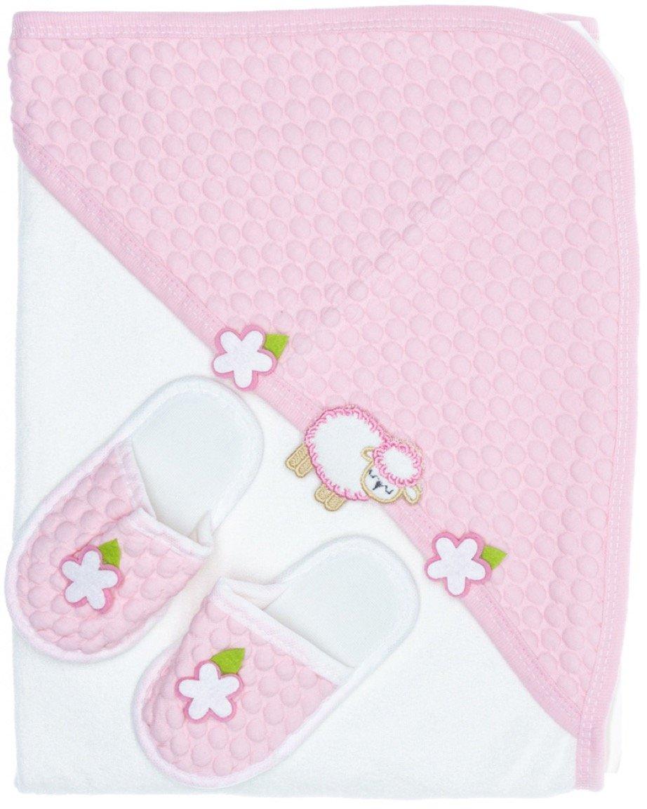 Mini Con βρεφική μπουρνουζοπετσέτα & παντοφλάκια «Pink Sheep»