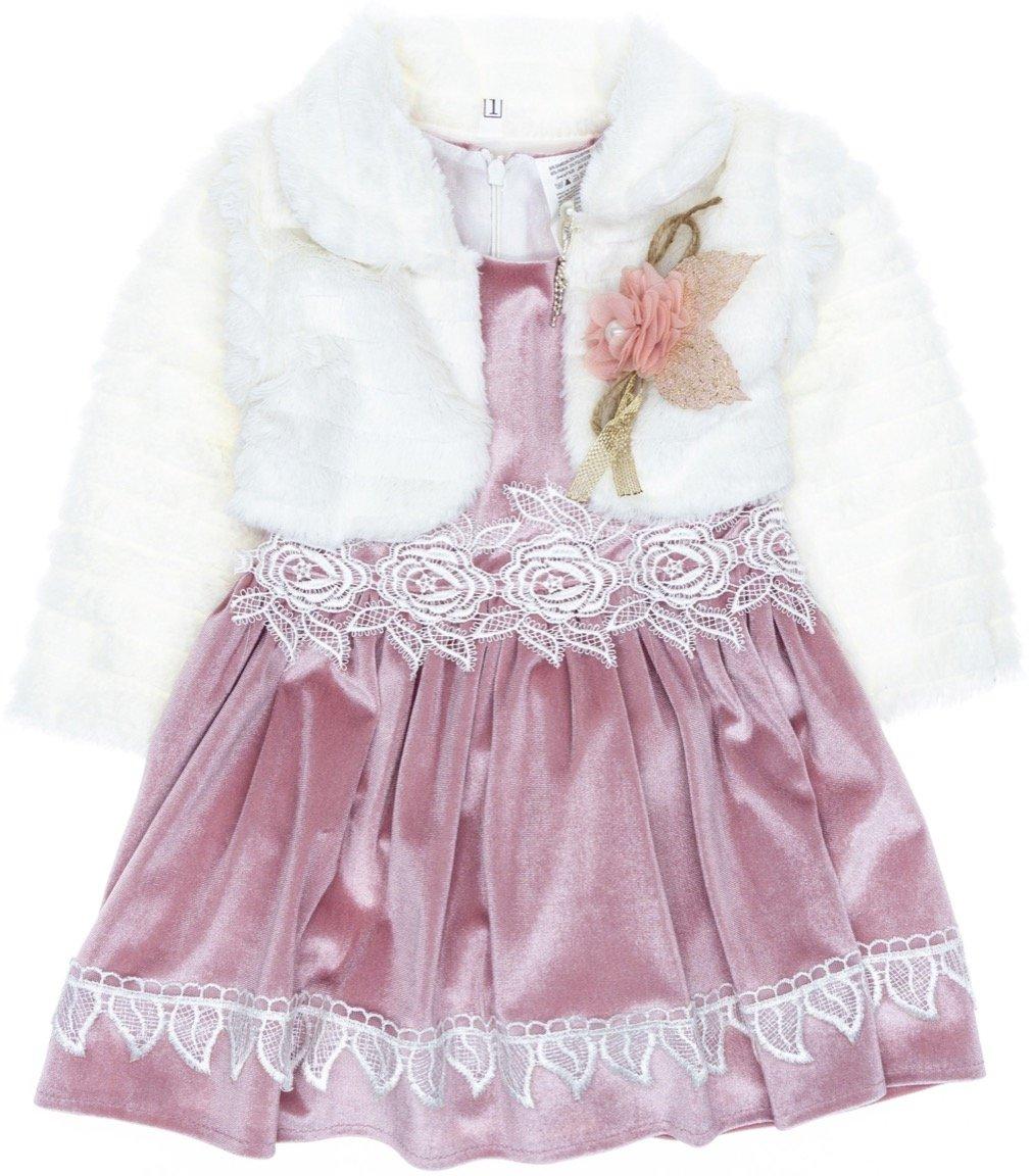 Miss Kugu παιδικό αμπιγιέ φόρεμα & μπολερό «Fur & Velvet»
