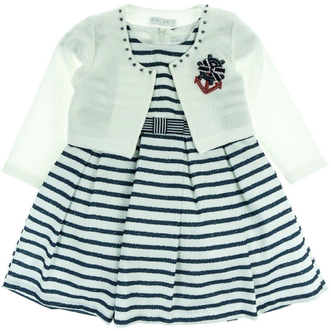 Εβίτα παιδικό αμπιγιέ φόρεμα & ζακέτα μπολερό «Anchor»