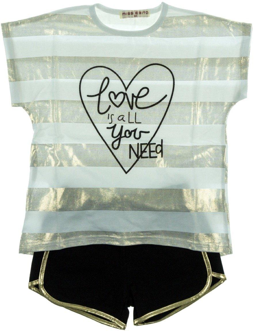 Εβίτα παιδικό σετ μπλούζα-παντελόνι σορτς «Golden Love»