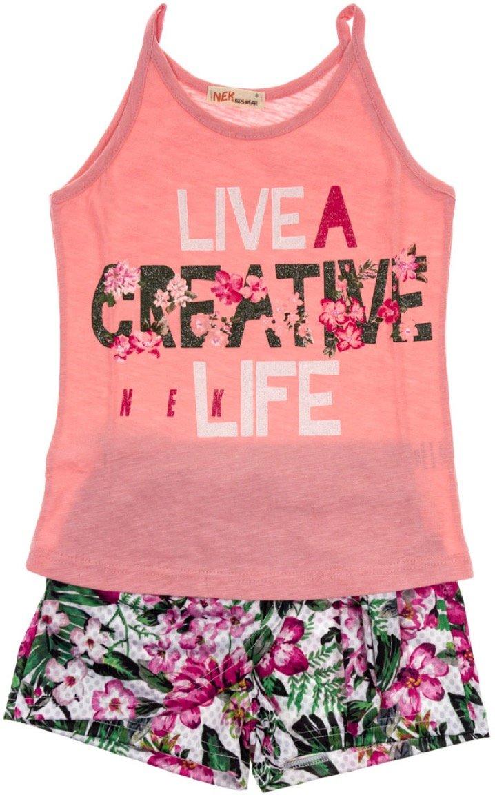Nek παιδικό σετ μπλούζα-παντελόνι σορτς «Creative Life»