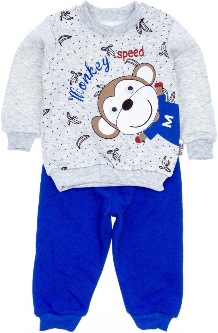 Marki βρεφικό σετ φόρμα μπλούζα-παντελόνι «Monkey Speed»