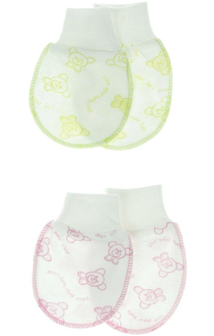 Izge σετ γάντια νεογνού (2 τεμάχια) «Pink-Green Teddies»