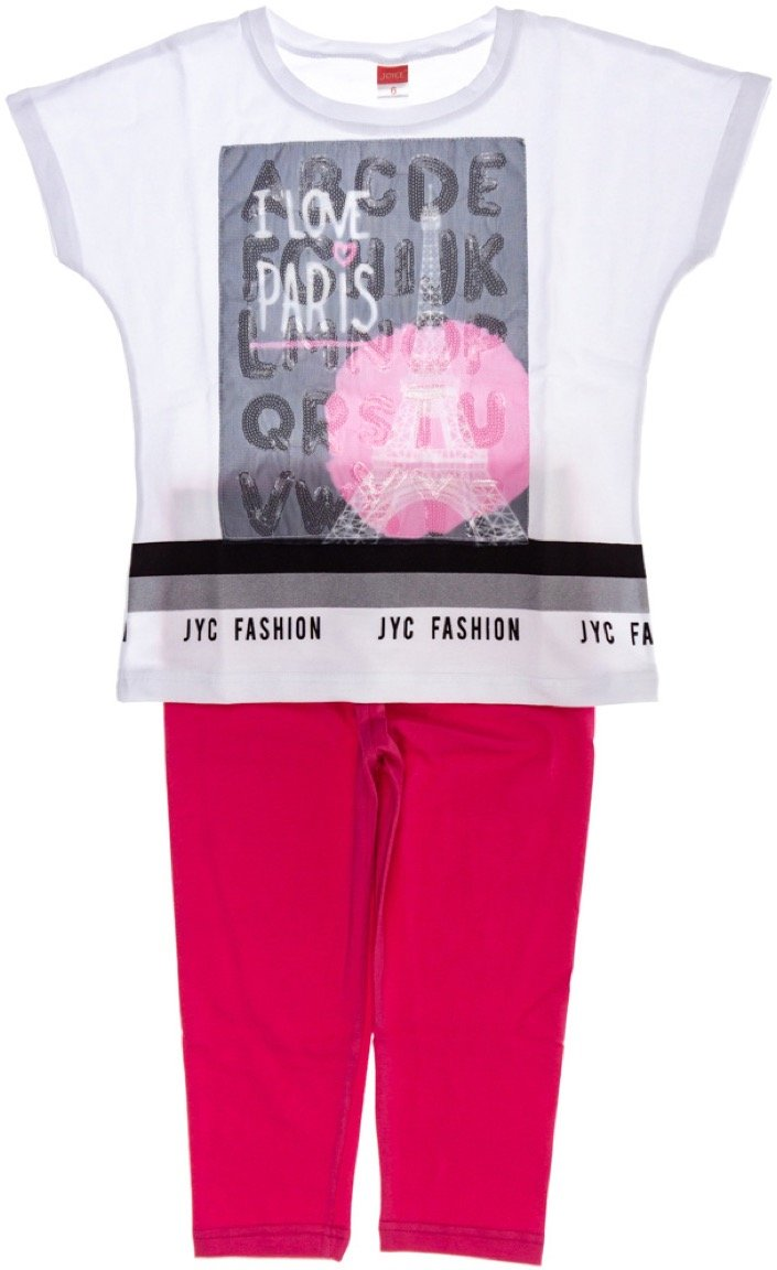 Joyce παιδικό σετ μπλούζα-παντελόνι κολάν κάπρι «I Love Paris»