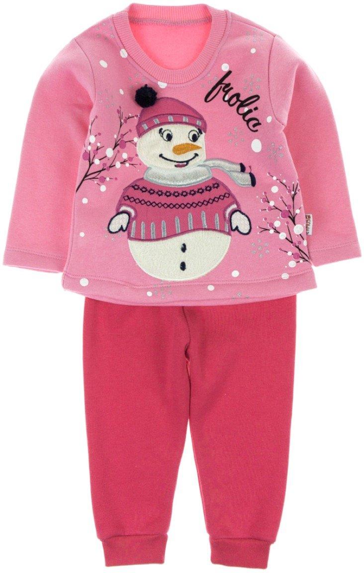 Eymus βρεφικό σετ φόρμα μπλούζα-παντελόνι «Pink Snowman»