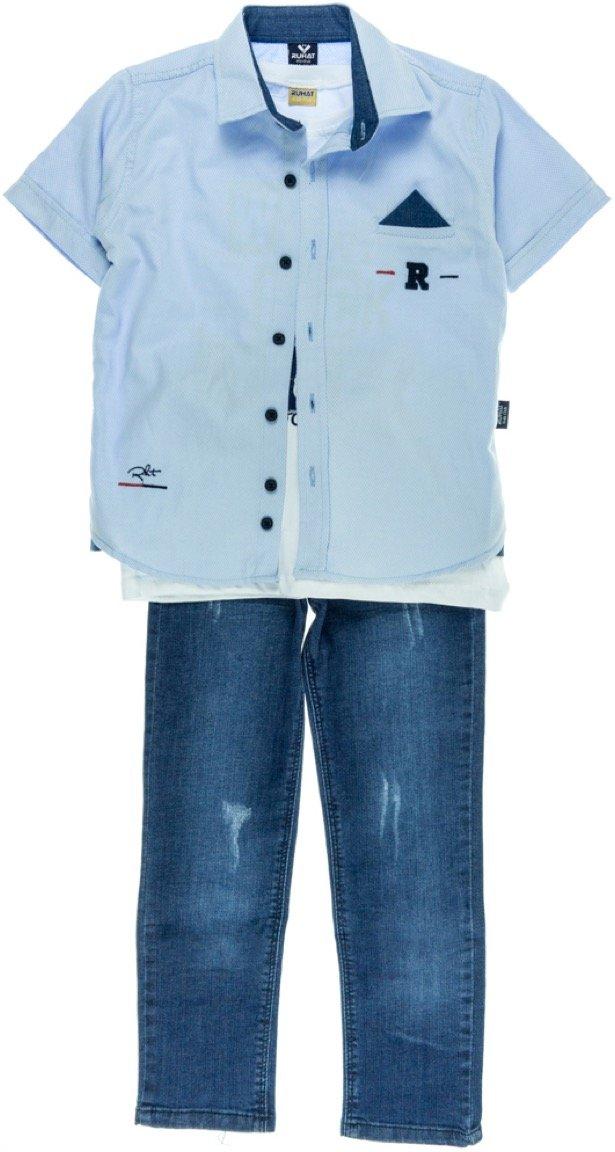 Ruhat παιδικό σετ πουκάμισο-μπλούζα-παντελόνι τζιν «Rock»