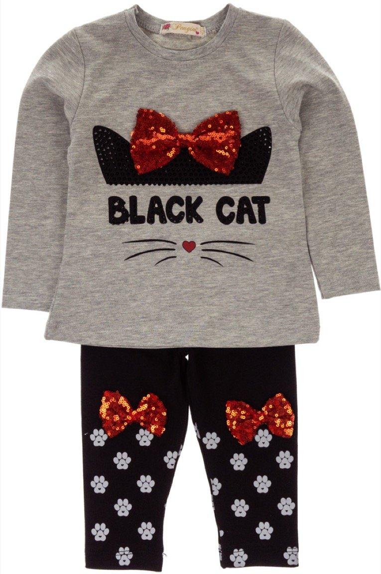 Pengim παιδικό εποχιακό σετ μπλούζα-παντελόνι κολάν «Black Cat»