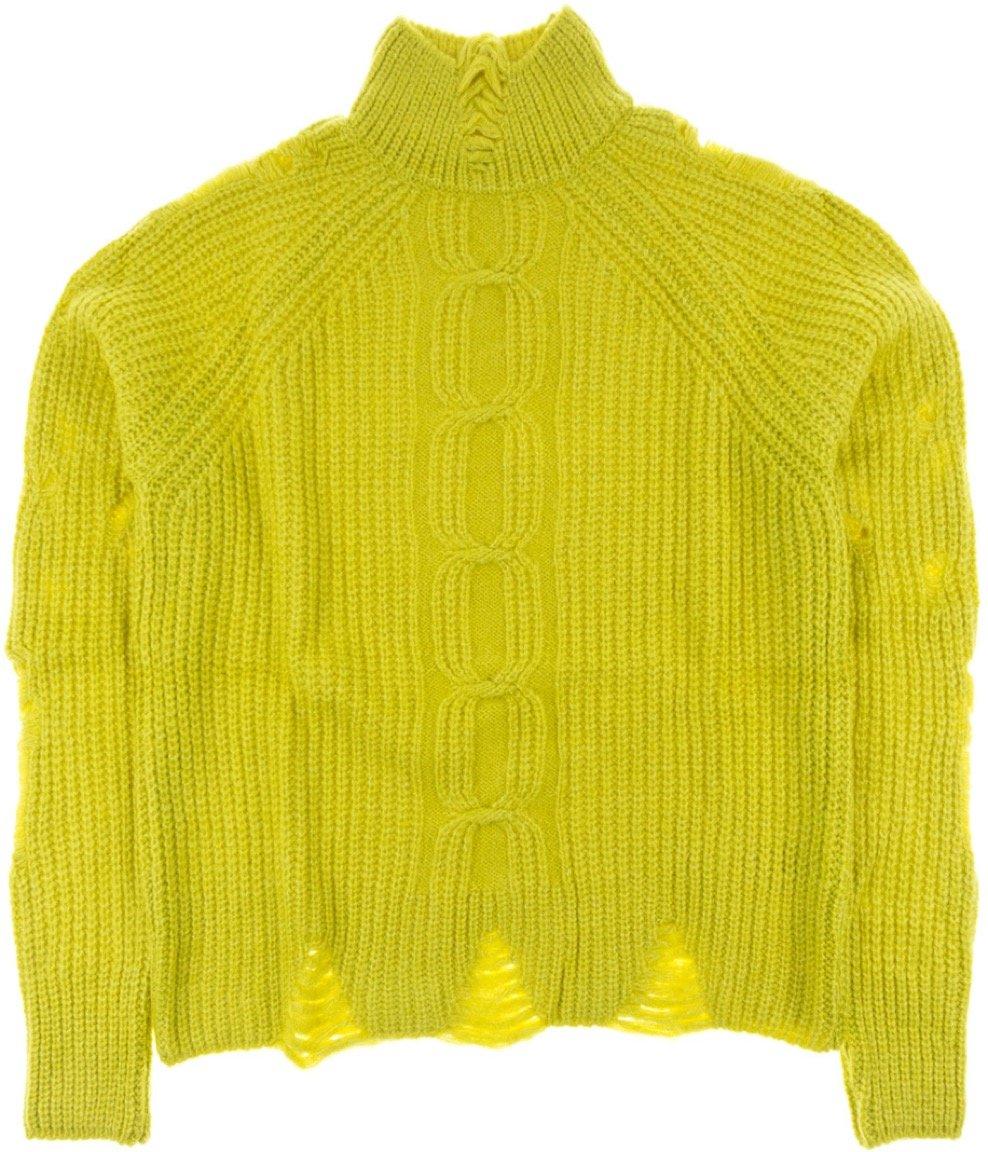 ΑΖ γυναικεία πλεκτή μπλούζα «Mustard Net»