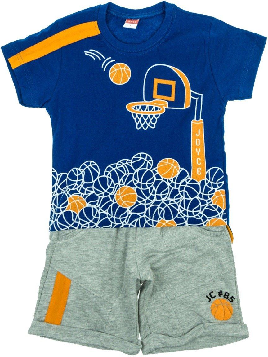Joyce παιδικό σετ μπλούζα-παντελόνι βερμούδα «Blue Hoops»