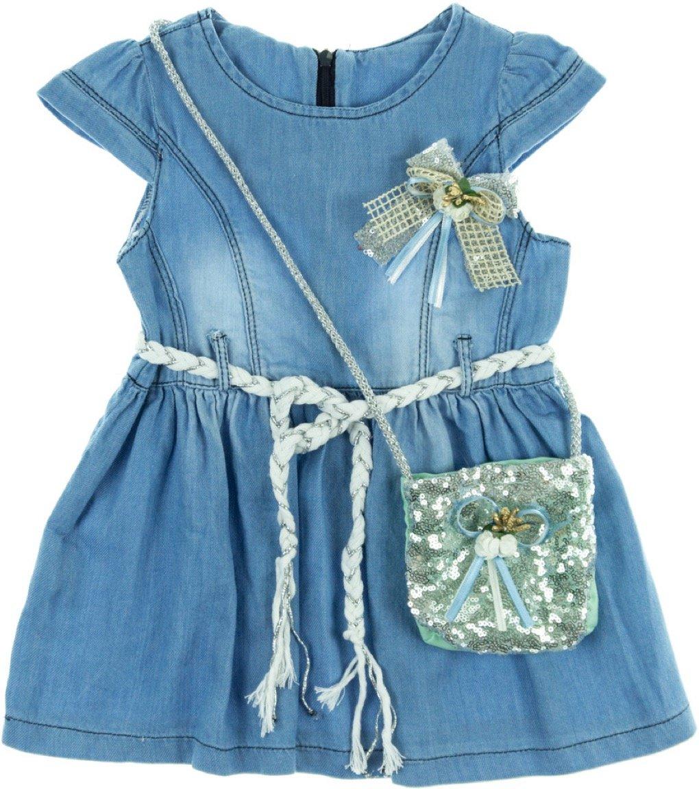 Sago παιδικό φόρεμα τζιν «Green Pouch»