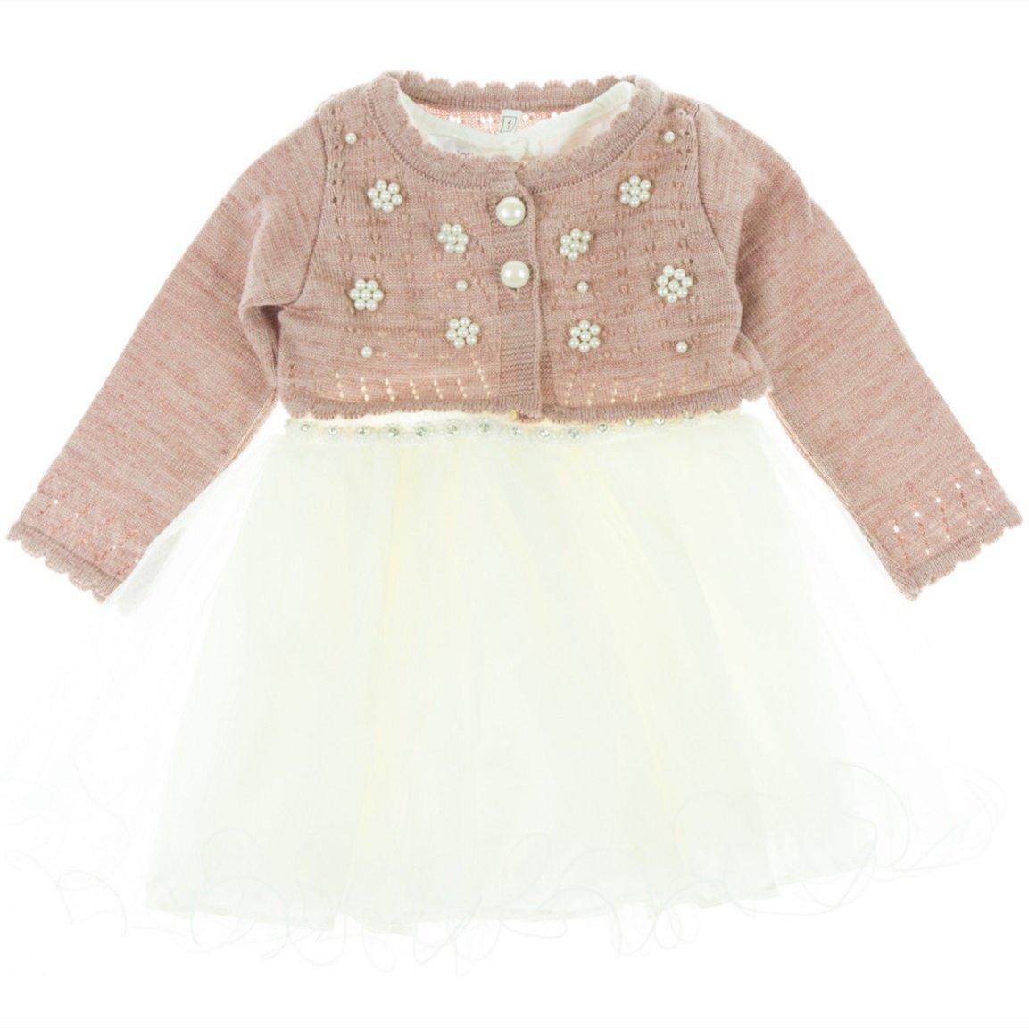 Bebellion παιδικό αμπιγιέ φόρεμα & ζακέτα μπολερό «Pink Flower»