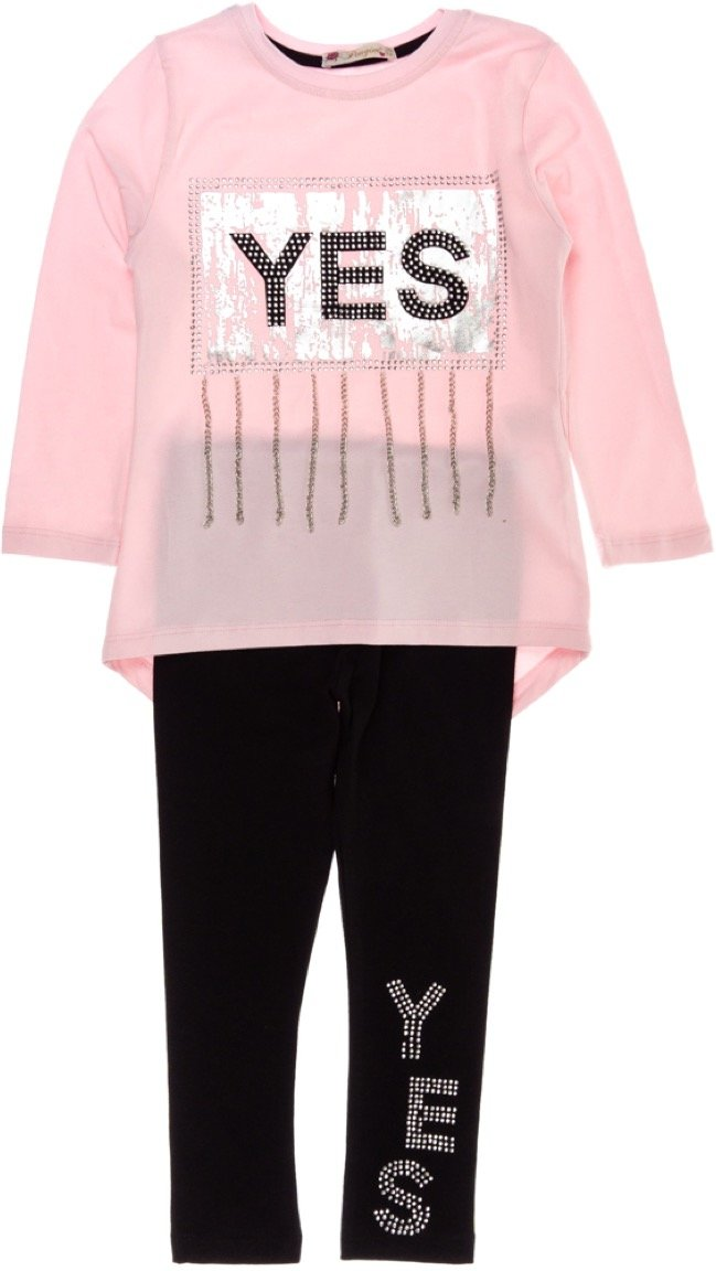 Pengim παιδικό εποχιακό σετ μπλούζα-παντελόνι κολάν «Saying Yes»