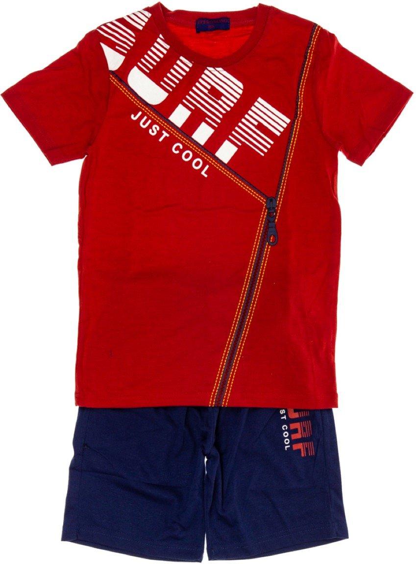 Peperoncino παιδικό σετ μπλούζα (στενή γραμμή)-βερμούδα «Red Surf»