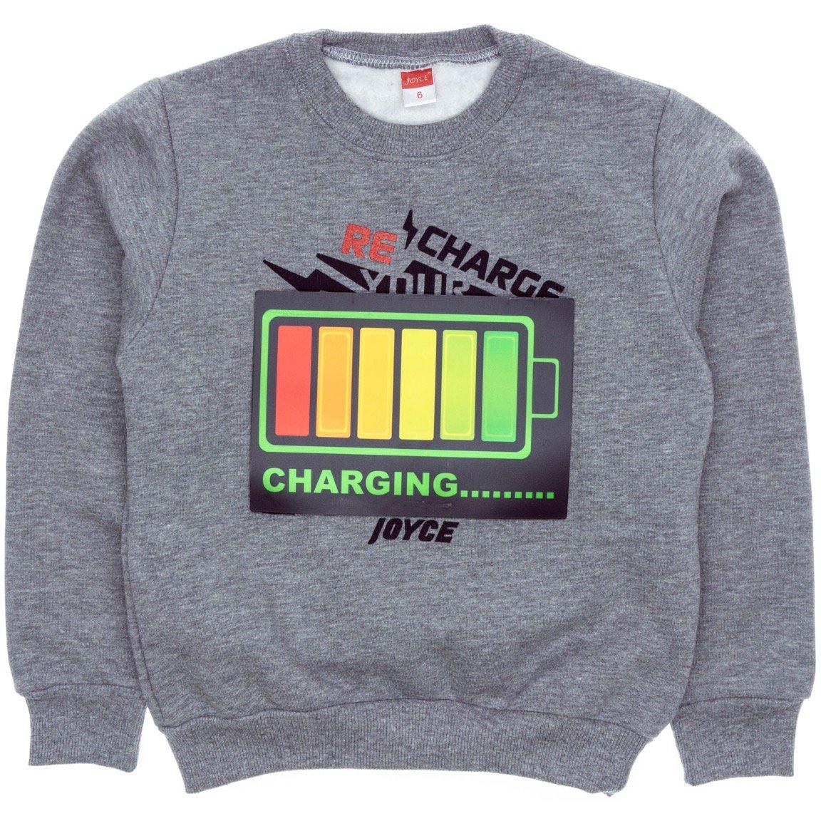 Joyce παιδική εποχιακή μπλούζα φούτερ με φωτάκια «Charging»