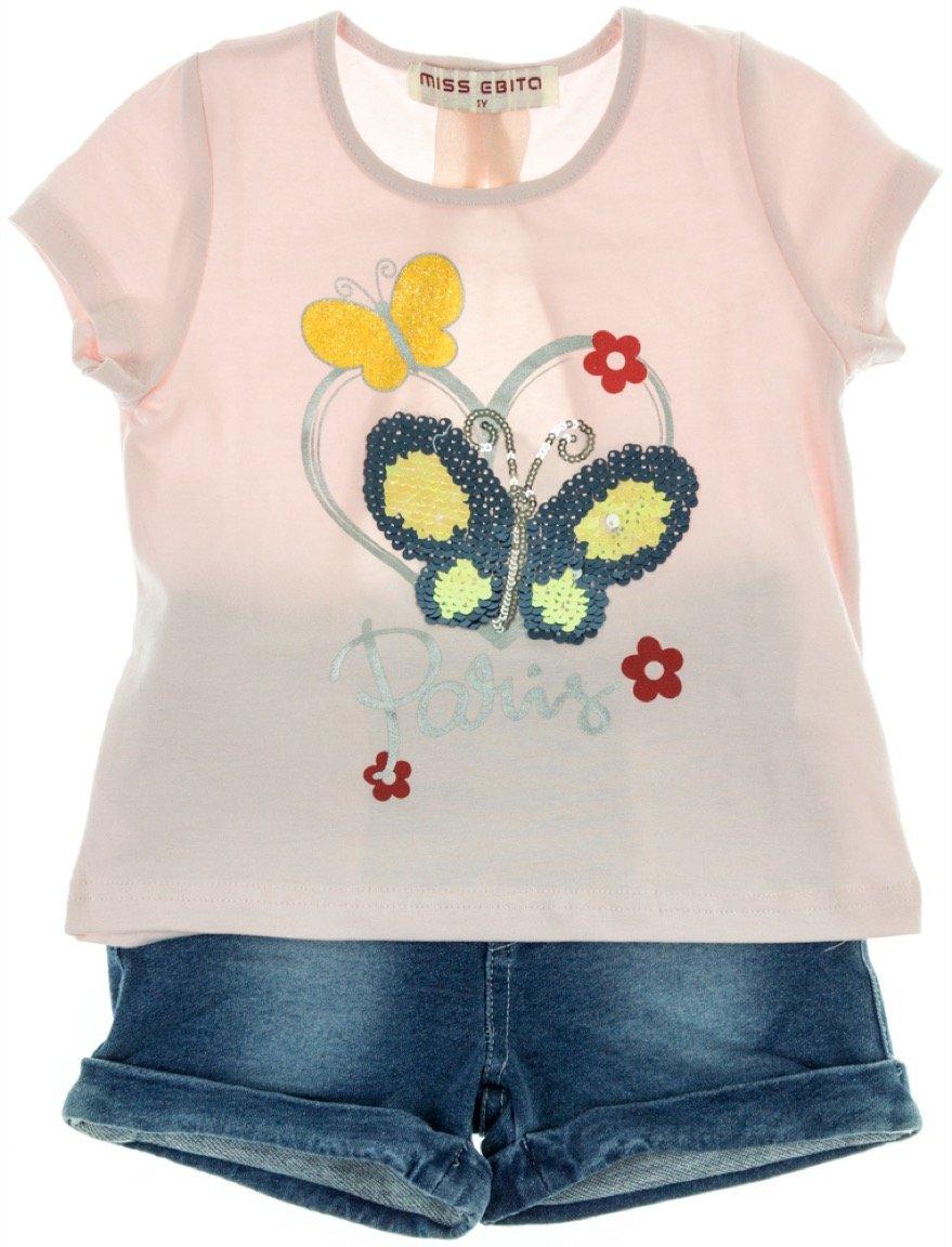 Εβίτα παιδικό σετ μπλούζα-παντελόνι σορτς «Heart & Butterfly»