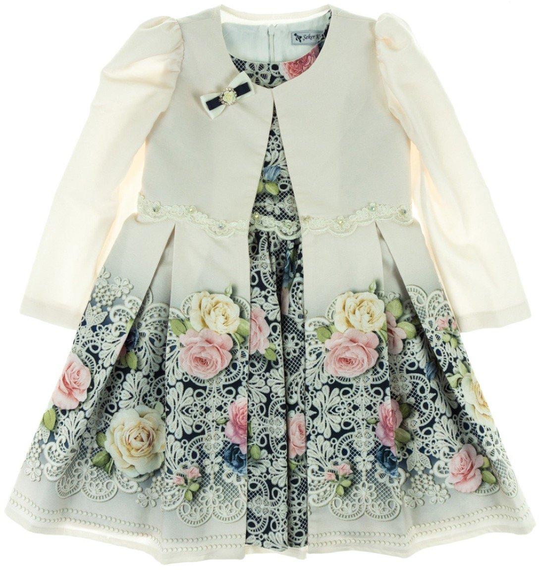 Seker παιδικό αμπιγιέ φόρεμα και μαντό «Pink Little Lady»