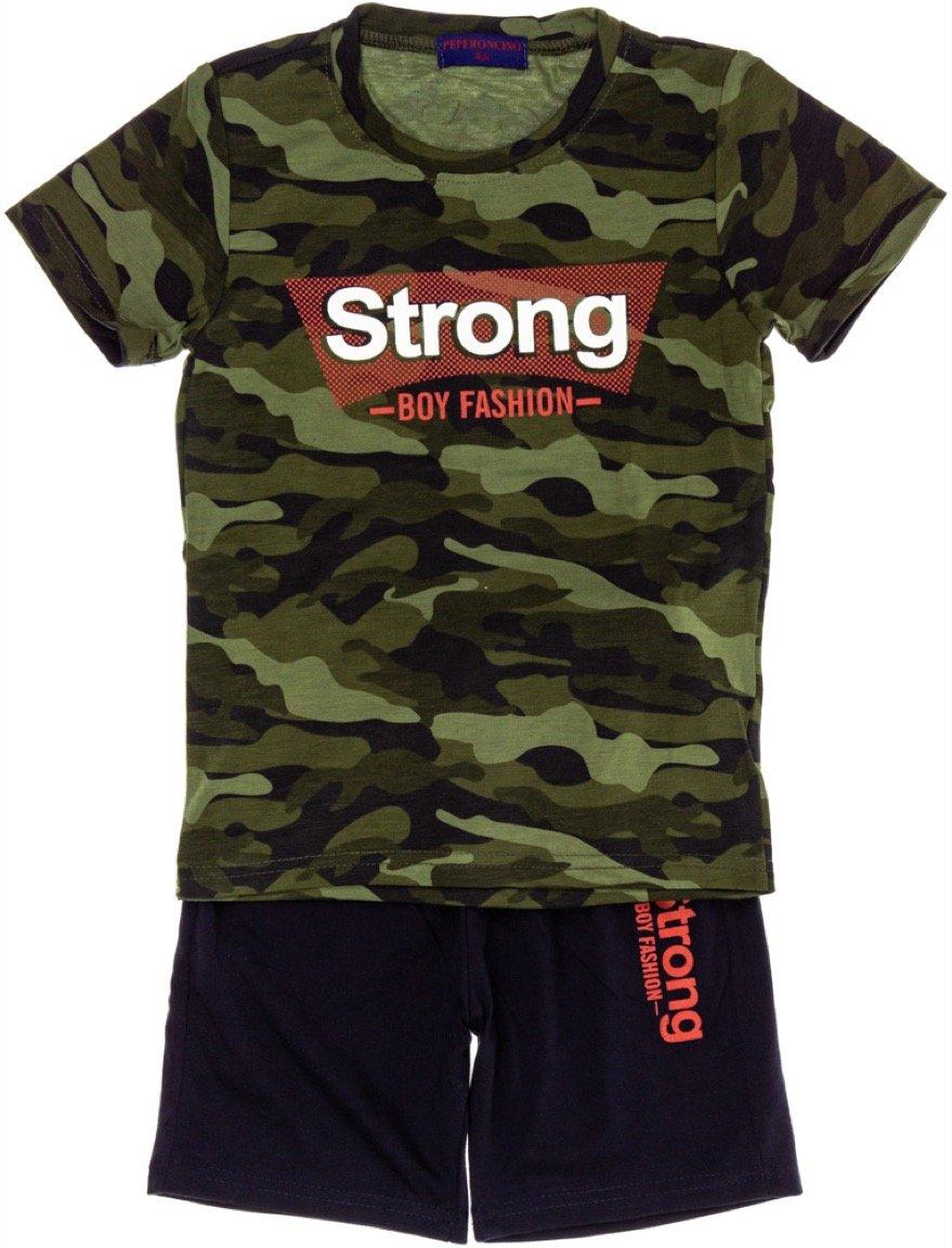 Peperoncino παιδικό σετ μπλούζα (στενή γραμμή)-βερμούδα «The Strong»