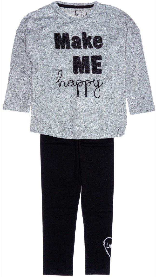 Εβίτα παιδικό σετ μπλούζα-παντελόνι κολάν «Make Me Happy»