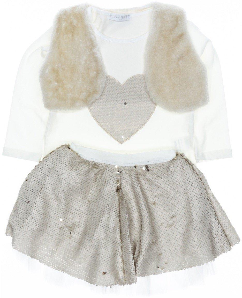 Εβίτα παιδικό σετ μπλούζα-φούστα-μπολερό «My Big Heart»