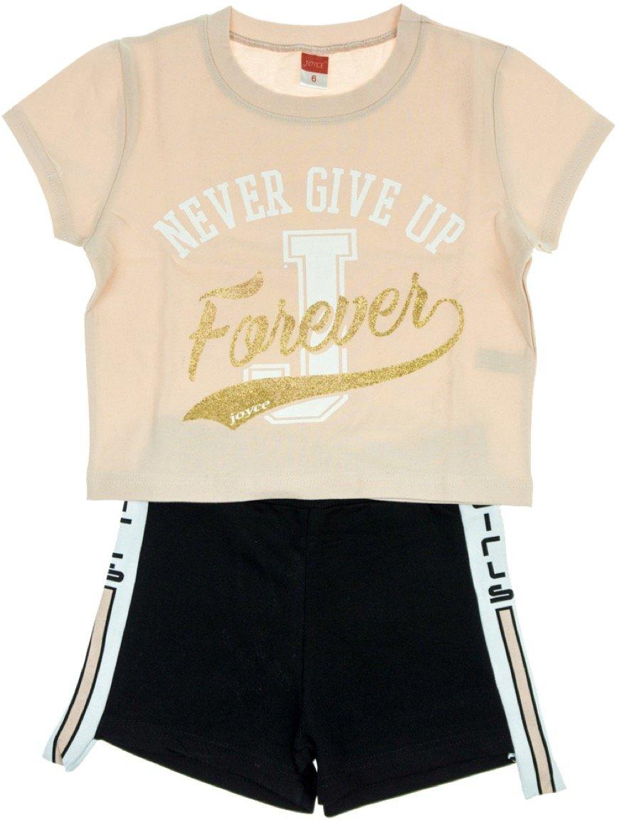 Joyce παιδικό σετ μπλούζα-παντελόνι σορτς «Never Ever Give Up»