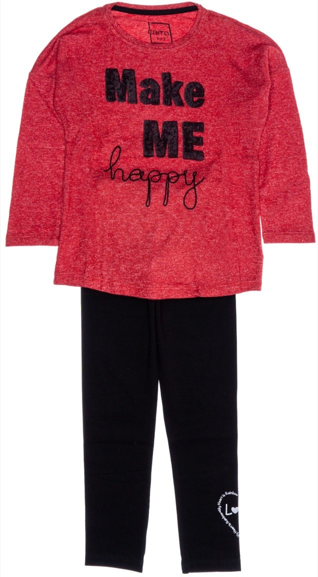 Εβίτα παιδικό σετ μπλούζα-παντελόνι κολάν «Happy»