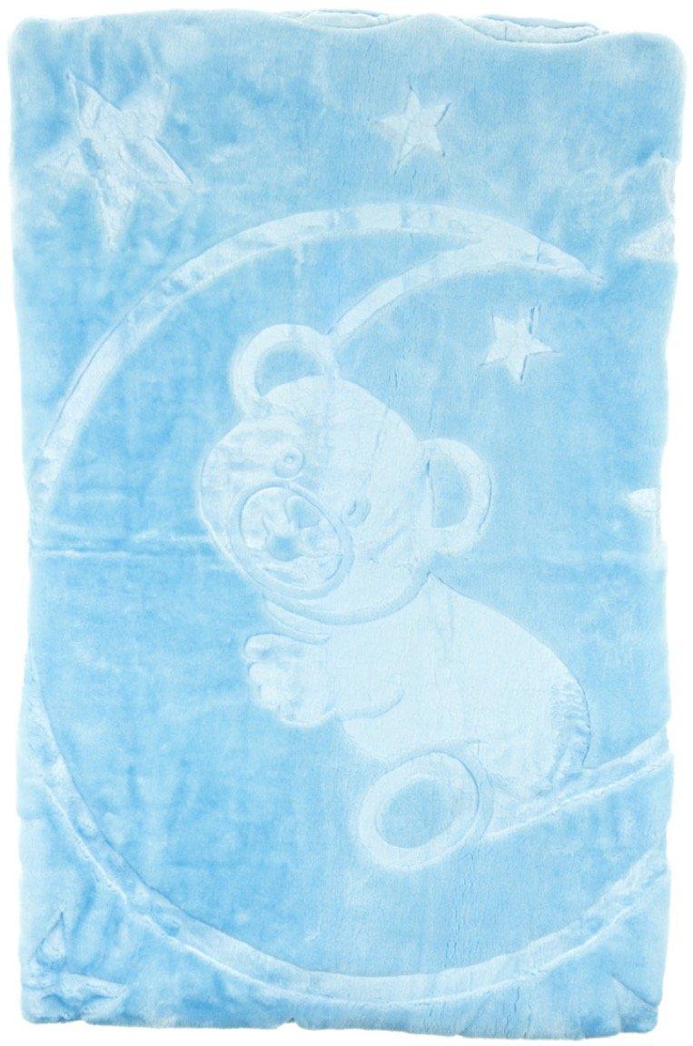Mini Gold κουβέρτα ανάγλυφη για παιδικό κρεβάτι (κούνια) «Blue Teddy»