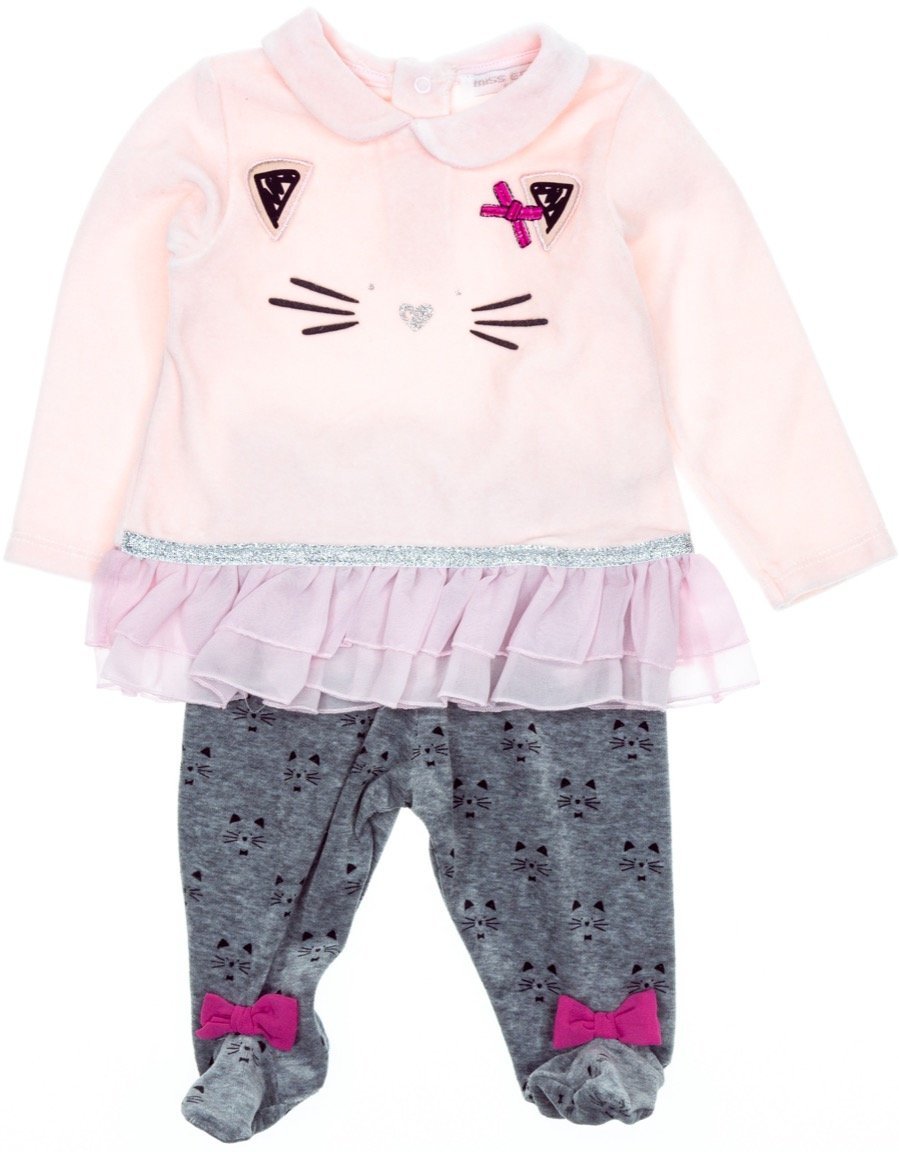 Εβίτα βρεφικό βελουτέ σετ μπλούζα-παντελόνι «Cute Kitten»