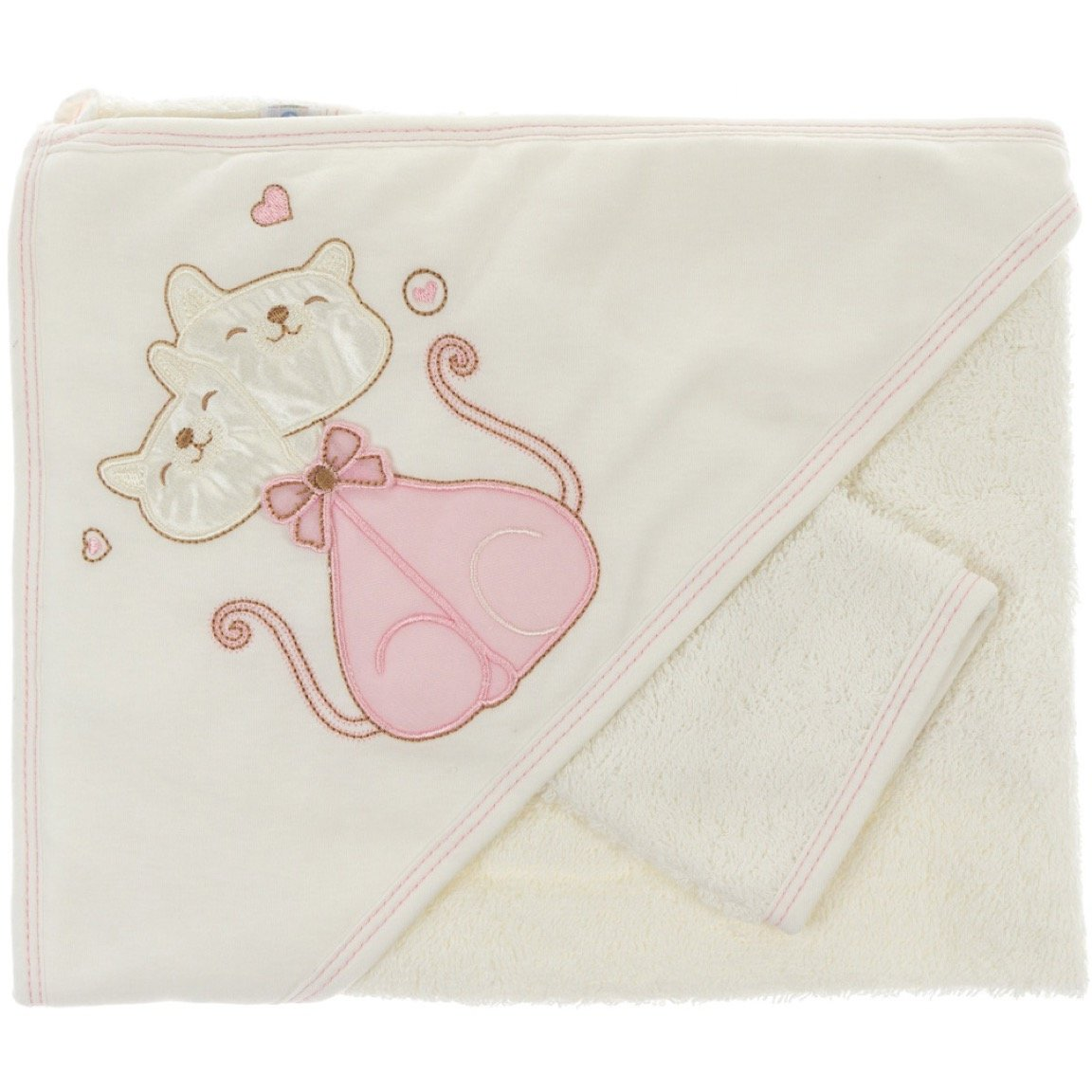 Eky Baby παιδικό μπουρνούζι-κάπα & γαντάκι μπάνιου «The Kitten Love»
