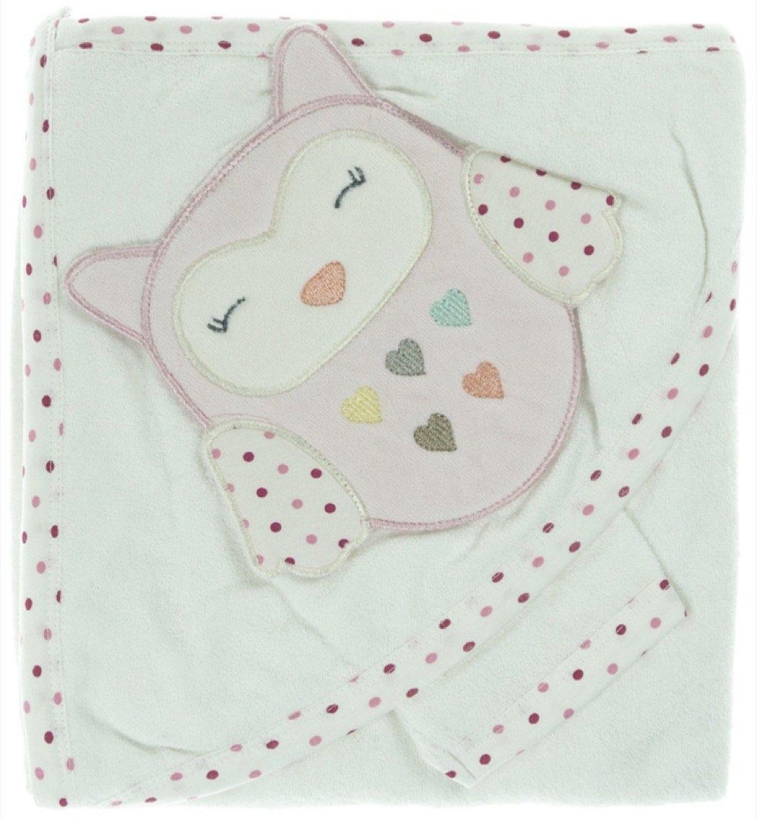 Babyline βρεφική μπουρνουζοπετσέτα & πανάκι μπάνιου «Pink Owl»