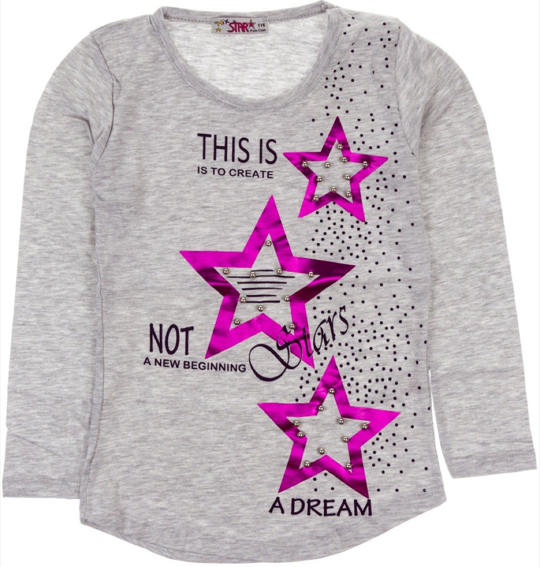 Mix Star παιδική εποχιακή μπλούζα «Dream Grey Stars»