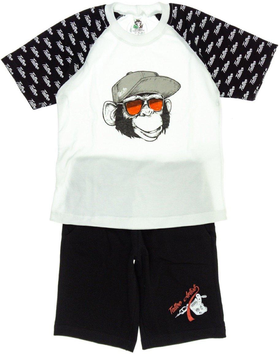 Go Jo παιδικό σετ μπλούζα-παντελόνι βερμούδα «Tattoo Monkey»