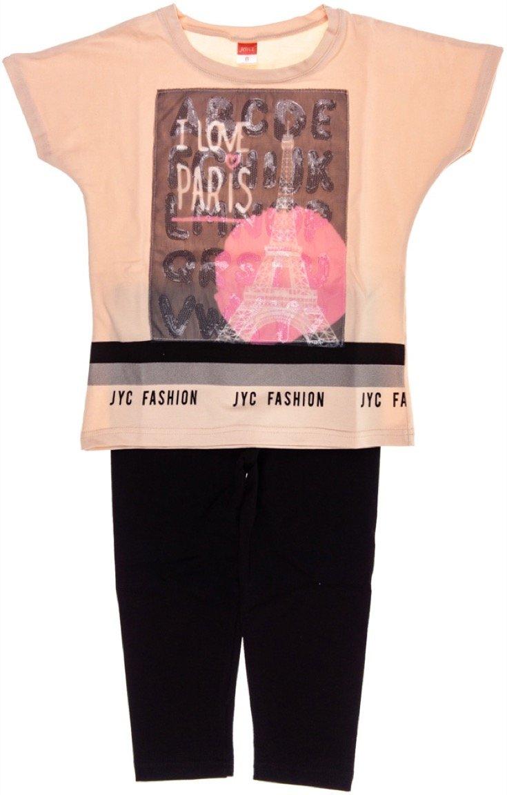 Joyce παιδικό σετ μπλούζα-παντελόνι κολάν κάπρι «Paris Love»
