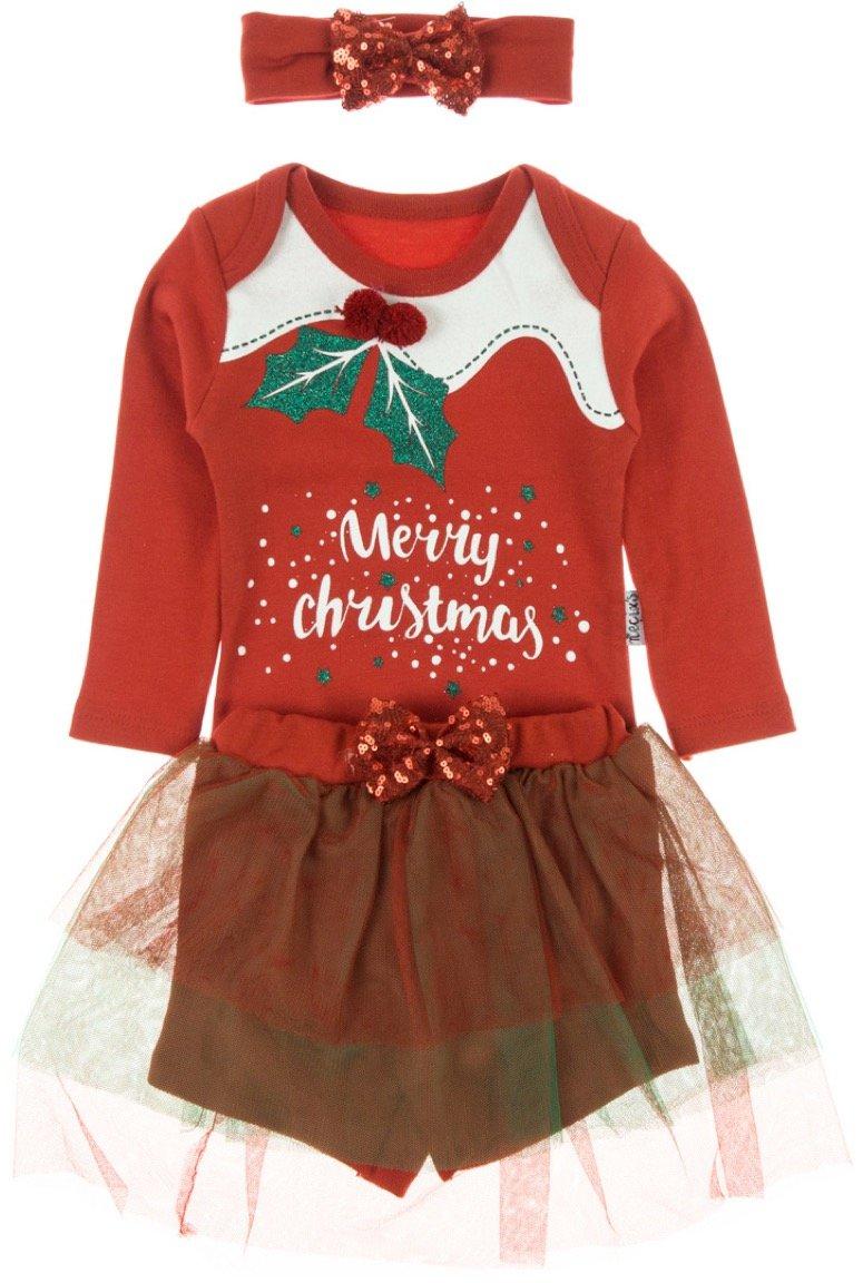 Necix's βρεφικό σετ κορμάκι-παντελόνι-κορδέλα «Christmas»