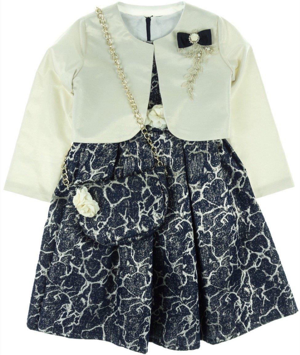 Seker παιδικό αμπιγιέ φόρεμα & ζακέτα μπολερό «Blue Shiny»