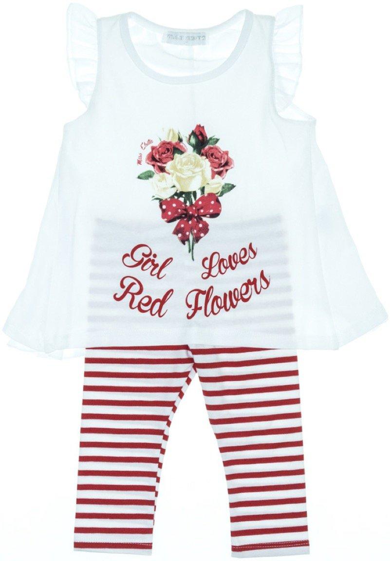 Εβίτα παιδικό σετ μπλούζα-παντελόνι κολάν κάπρι «Red Flowers»