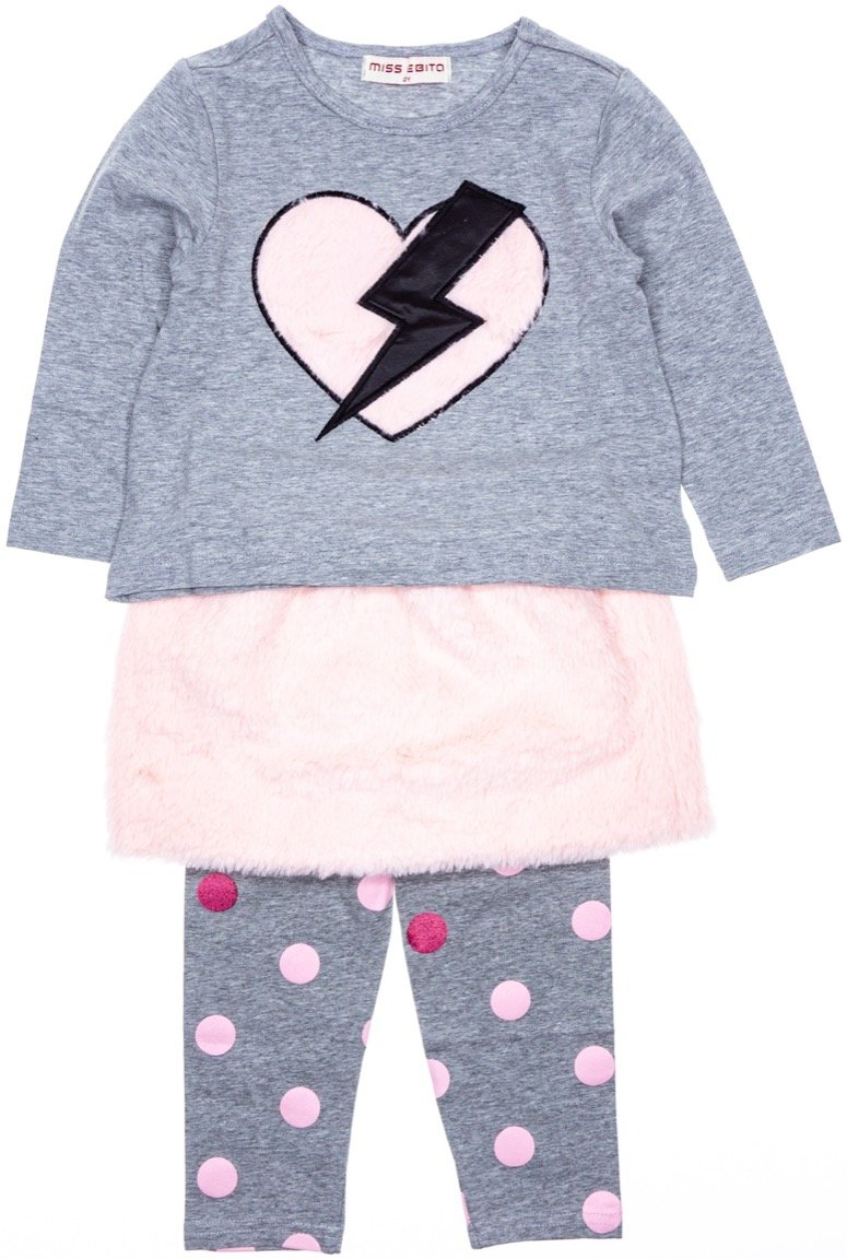 Εβίτα παιδικό σετ μπλούζα-φούστα-κολάν «Thunderheart»