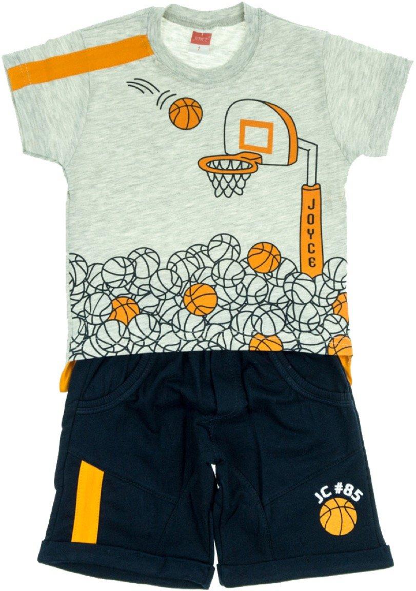 Joyce παιδικό σετ μπλούζα-παντελόνι βερμούδα «Grey Hoops»