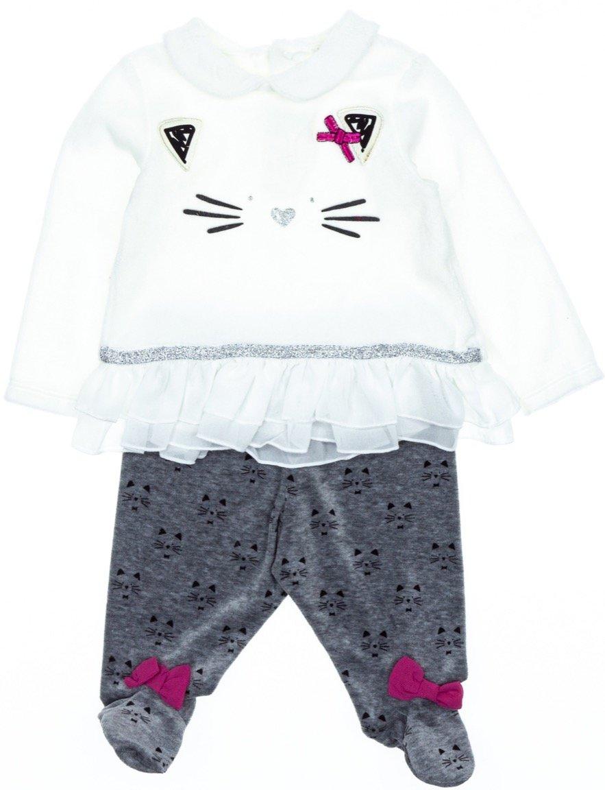 Εβίτα βρεφικό βελουτέ σετ μπλούζα-παντελόνι «The Cute Kitten»