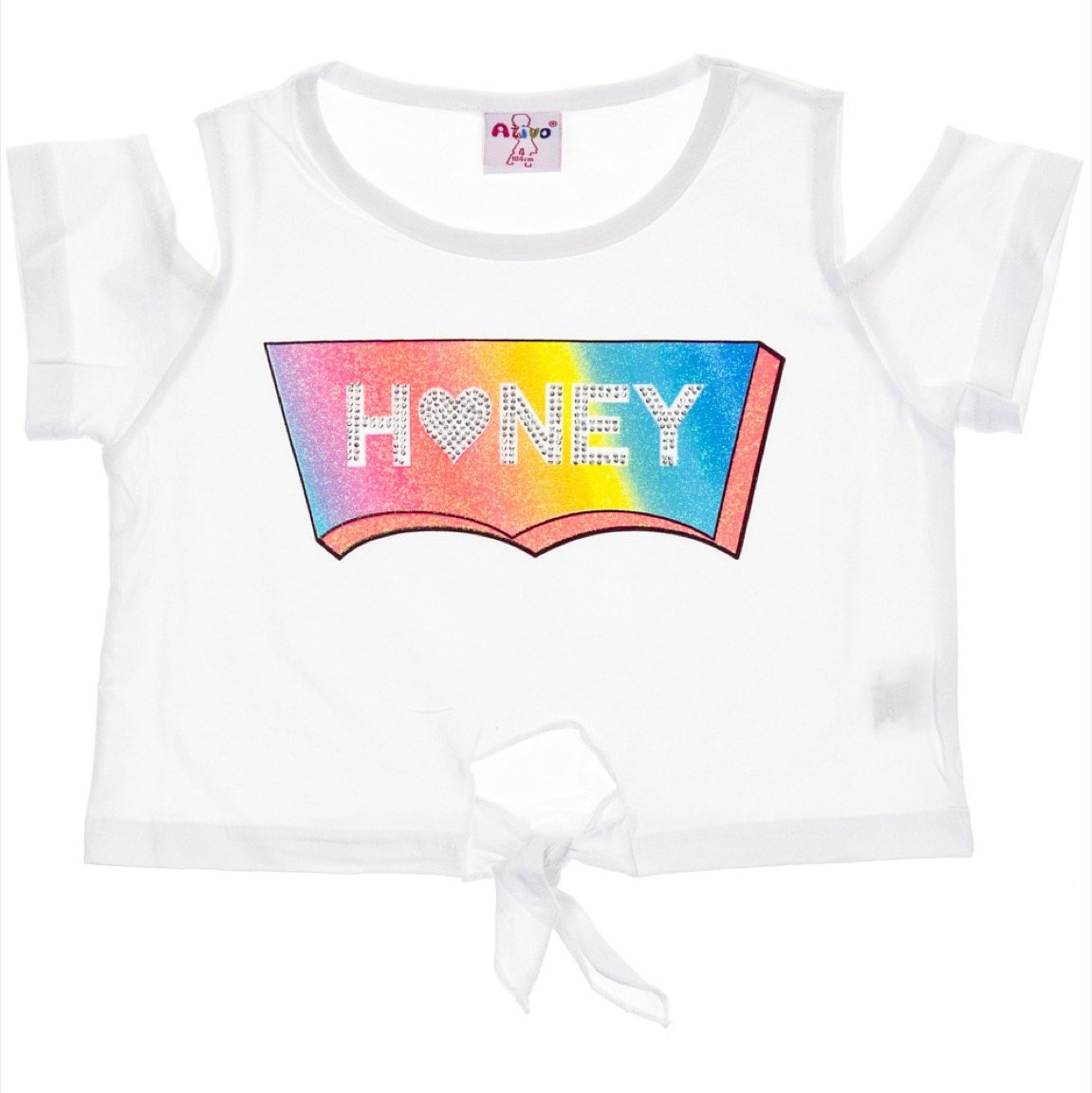 Ativo παιδική μπλούζα κοντή «White Honey»