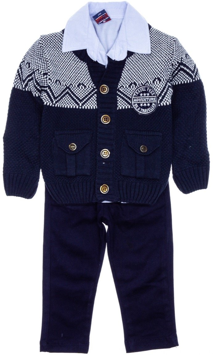 Pakel παιδικό αμπιγιέ σετ ζακέτα, πουκάμισο, παντελόνι «Travel»