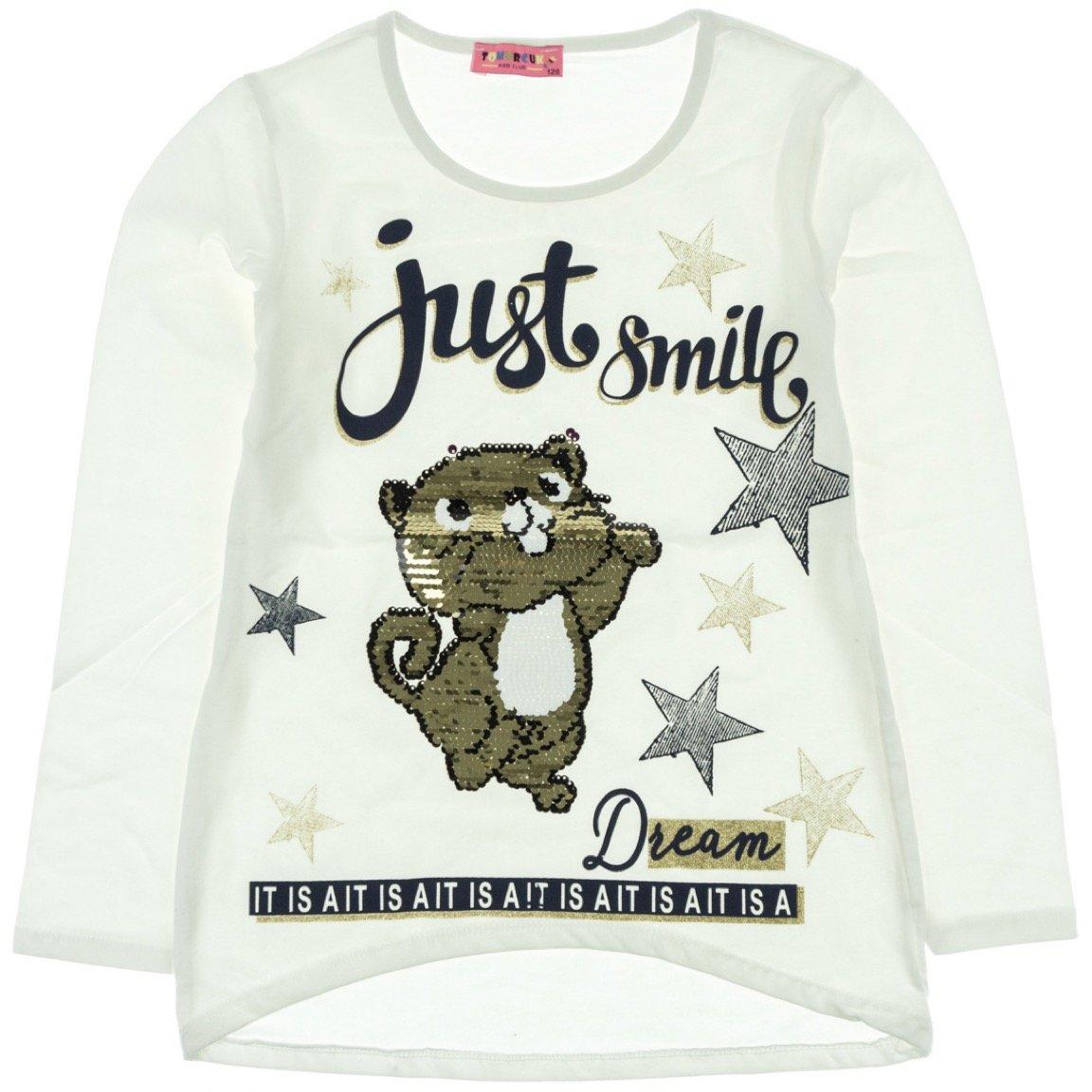 Tomurcuk παιδική μπλούζα «Ecru Smiley Cat»