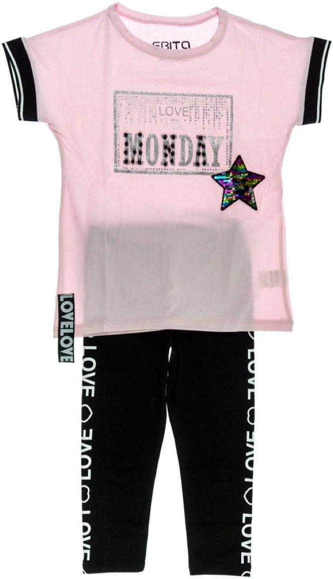 Εβίτα παιδικό σετ μπλούζα-παντελόνι κολάν-κάπρι «Monday»