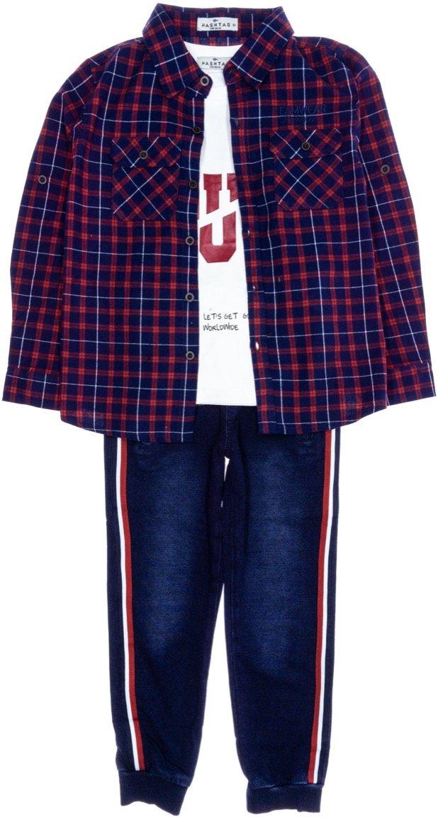 Hashtag παιδικό εποχιακό σετ πουκάμισο-μπλούζα-παντελόνι τζιν «Distinct»