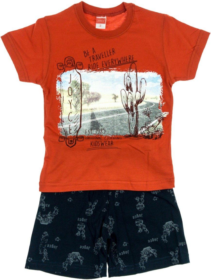 Joyce παιδικό σετ μπλούζα-παντελόνι σορτς «Red Traveler»