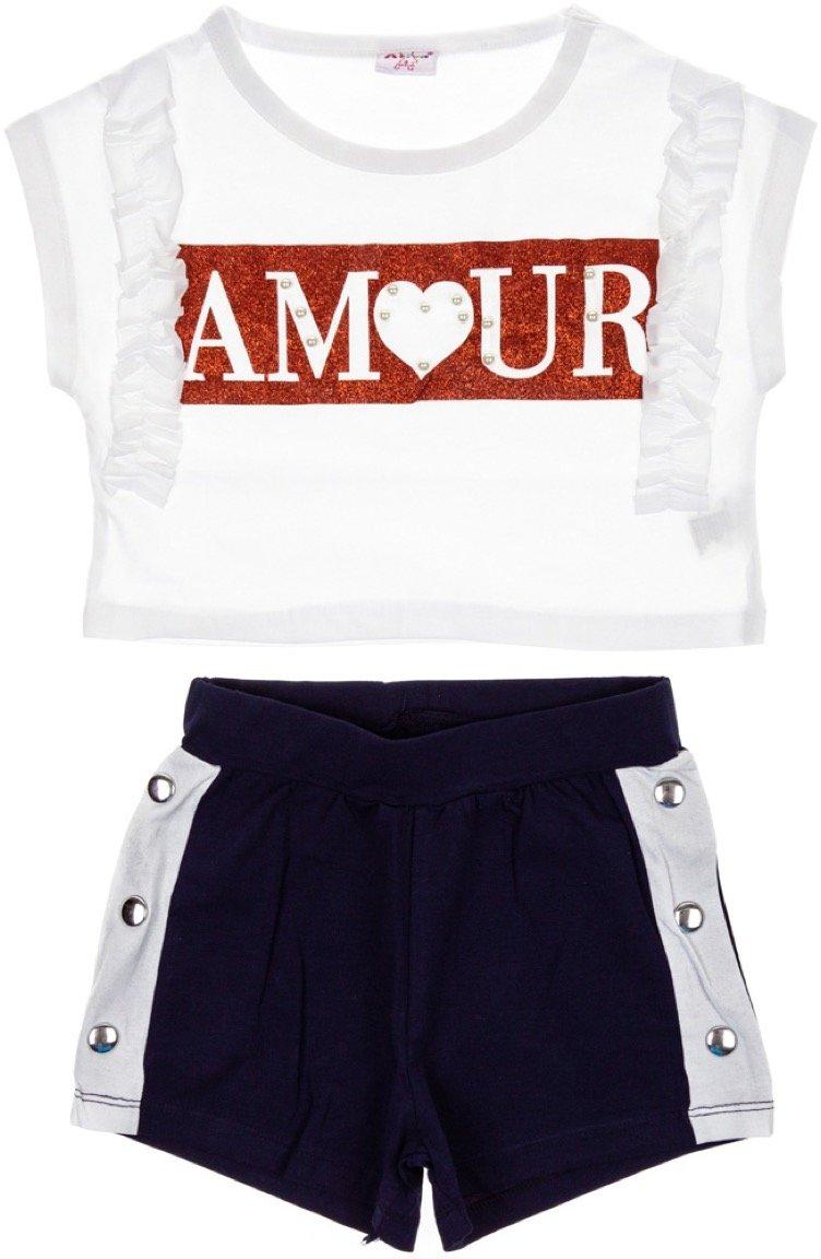 Ativo παιδικό σετ μπλούζα κοντή-παντελόνι σορτς «White Amour»