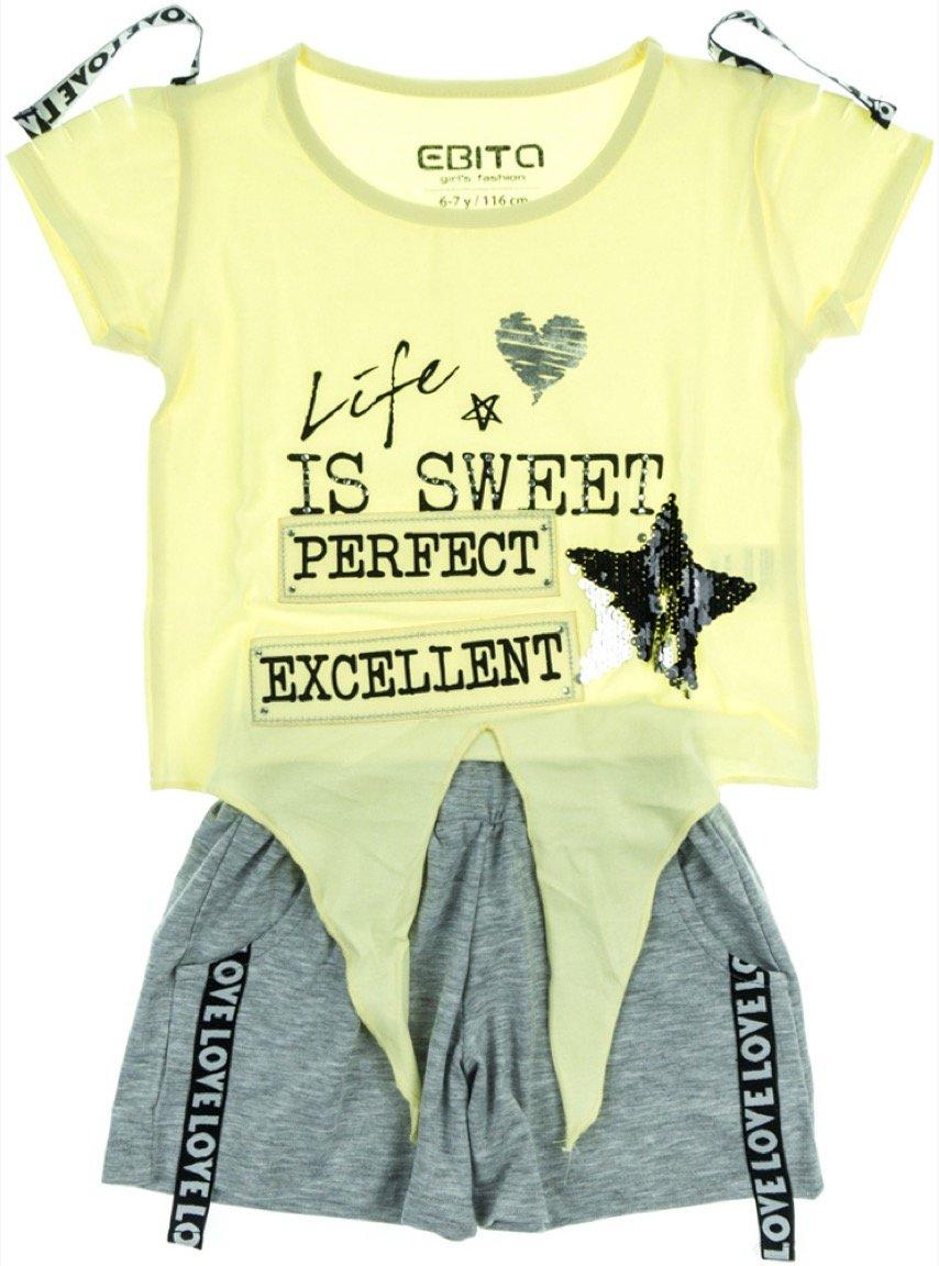 Εβίτα παιδικό σετ μπλούζα-παντελόνι σορτς «Life is Sweet»