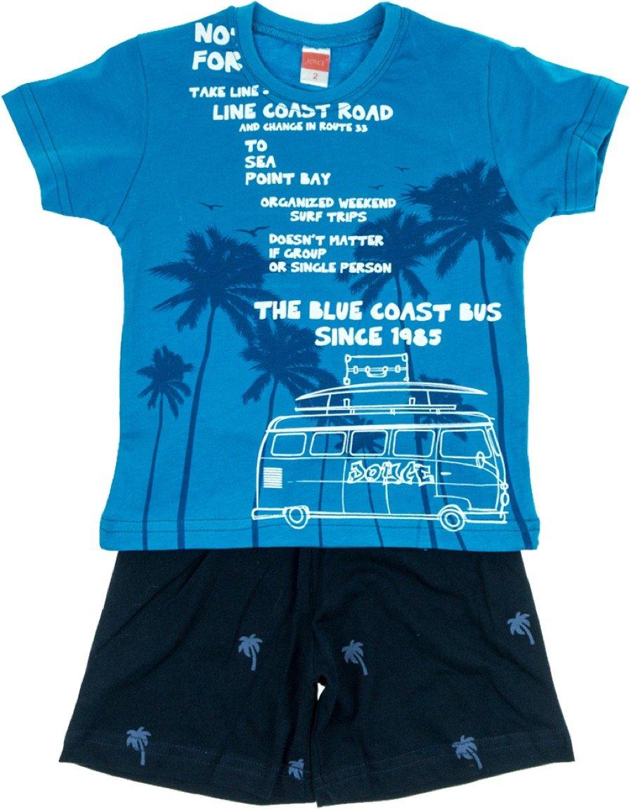 Joyce παιδικό σετ μπλούζα-παντελόνι σορτς «Blue Coast Bus»