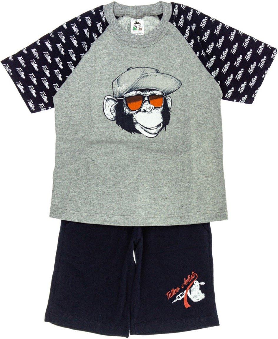 Go Jo παιδικό σετ μπλούζα-παντελόνι βερμούδα «Monkey Tattoo»